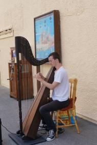 Harpist at the harbor